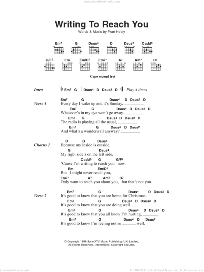 Writing To Reach You sheet music for guitar (chords) by Merle Travis and Fran Healy, intermediate skill level