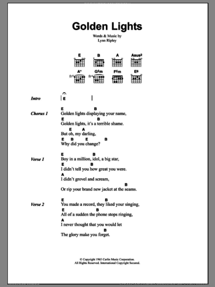Golden Lights sheet music for guitar (chords) by The Smiths and Lynn Ripley, intermediate skill level