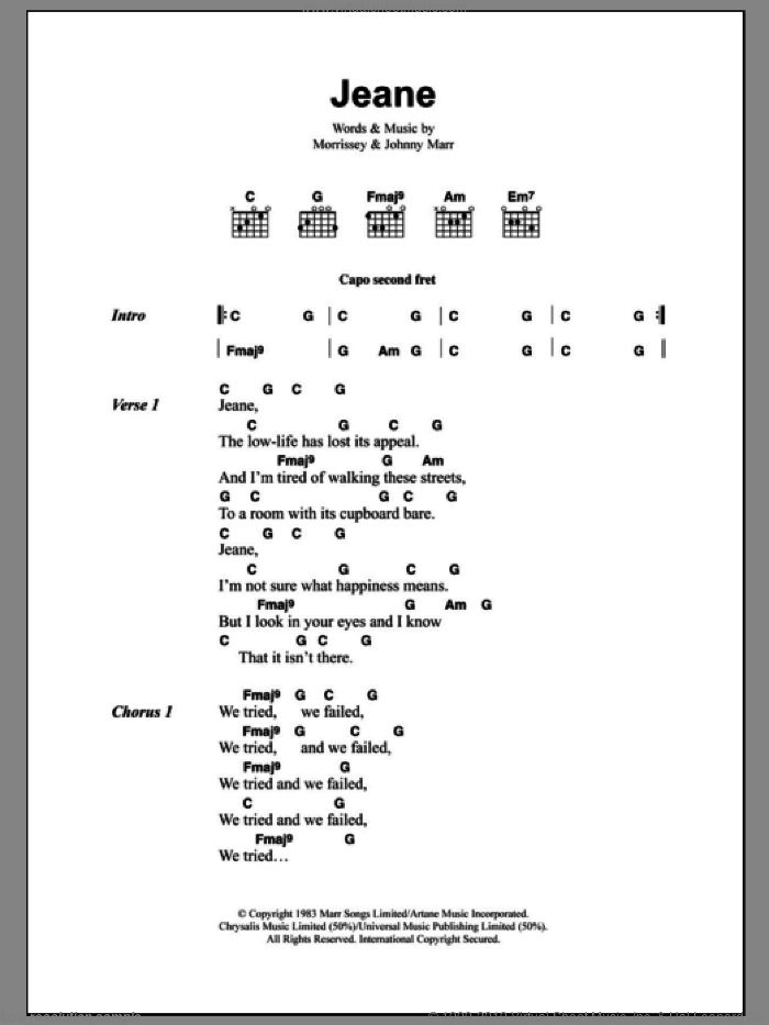 Jeane sheet music for guitar (chords) by The Smiths, Johnny Marr and Steven Morrissey, intermediate skill level