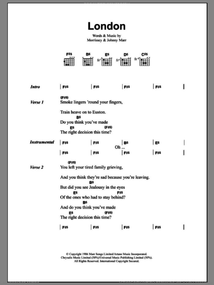 London sheet music for guitar (chords) by The Smiths, Johnny Marr and Steven Morrissey, intermediate skill level