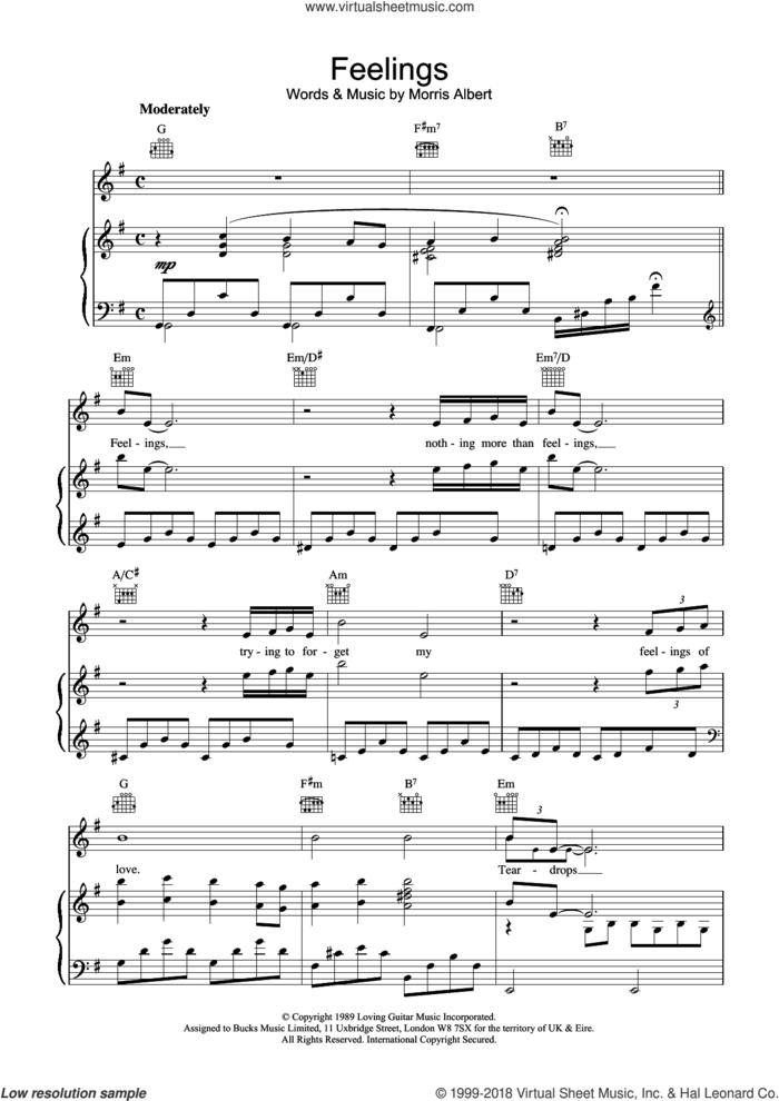 Feelings (Dime) sheet music for voice, piano or guitar by Morris Albert, intermediate skill level