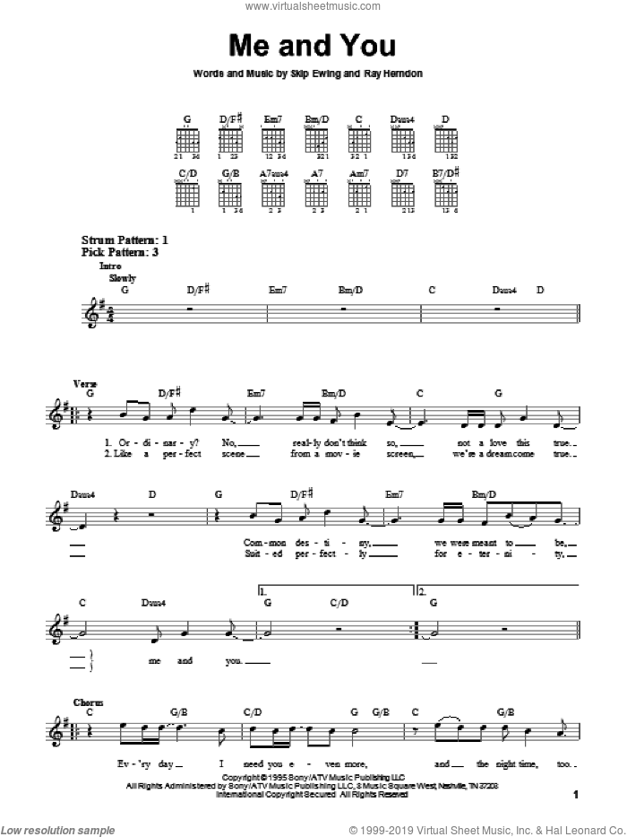 Me And You sheet music for guitar solo (chords) by Kenny Chesney, Ray Herndon and Skip Ewing, wedding score, easy guitar (chords)