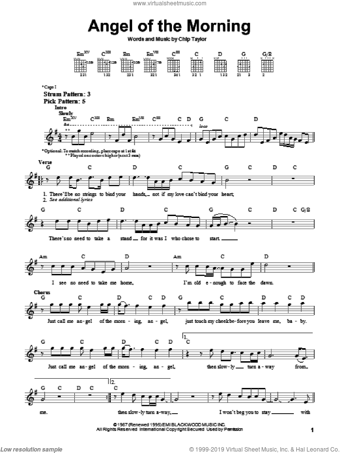 Angel Of The Morning sheet music for guitar solo (chords) by Juice Newton, Merrilee Rush, Merrilee Rush & The Turnabouts and Chip Taylor, easy guitar (chords)