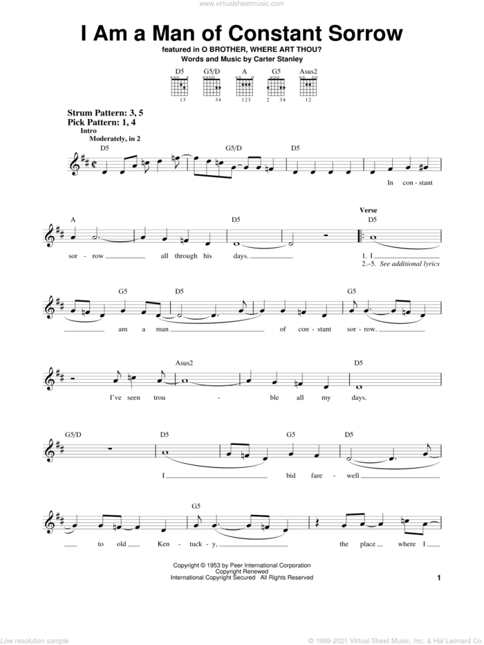 I Am A Man Of Constant Sorrow sheet music for guitar solo (chords) by The Soggy Bottom Boys, O Brother, Where Art Thou? (Movie) and Carter Stanley, easy guitar (chords)