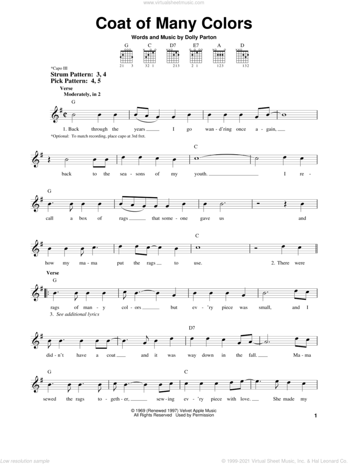 Coat Of Many Colors sheet music for guitar solo (chords) by Dolly Parton, easy guitar (chords)