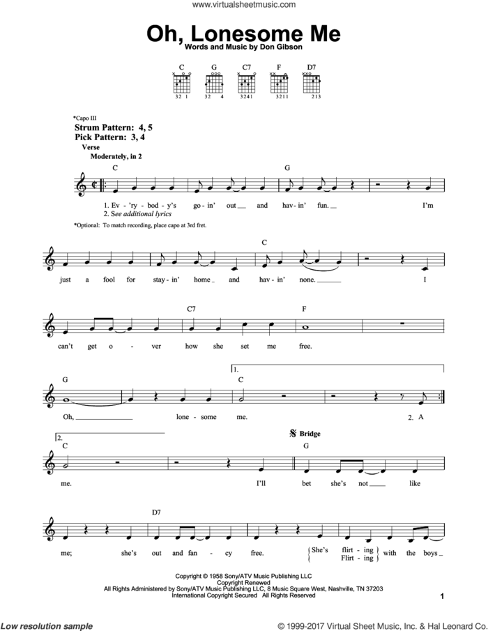 Oh, Lonesome Me sheet music for guitar solo (chords) by Don Gibson, easy guitar (chords)
