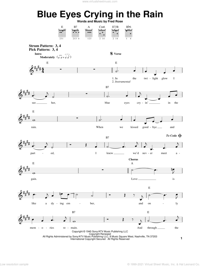 Blue Eyes Crying In The Rain sheet music for guitar solo (chords) by Willie Nelson, Elvis Presley and Fred Rose, easy guitar (chords)