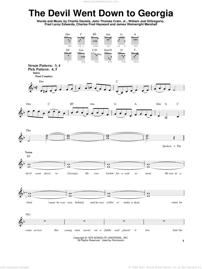 The Devil Went Down To Georgia sheet music for guitar solo (chords) by Charlie Daniels Band, Charles Fred Hayward, Charlie Daniels, Fred Laroy Edwards, James Wainwright Marshall, John Thomas Crain, Jr. and William Joel DiGregorio, easy guitar (chords)