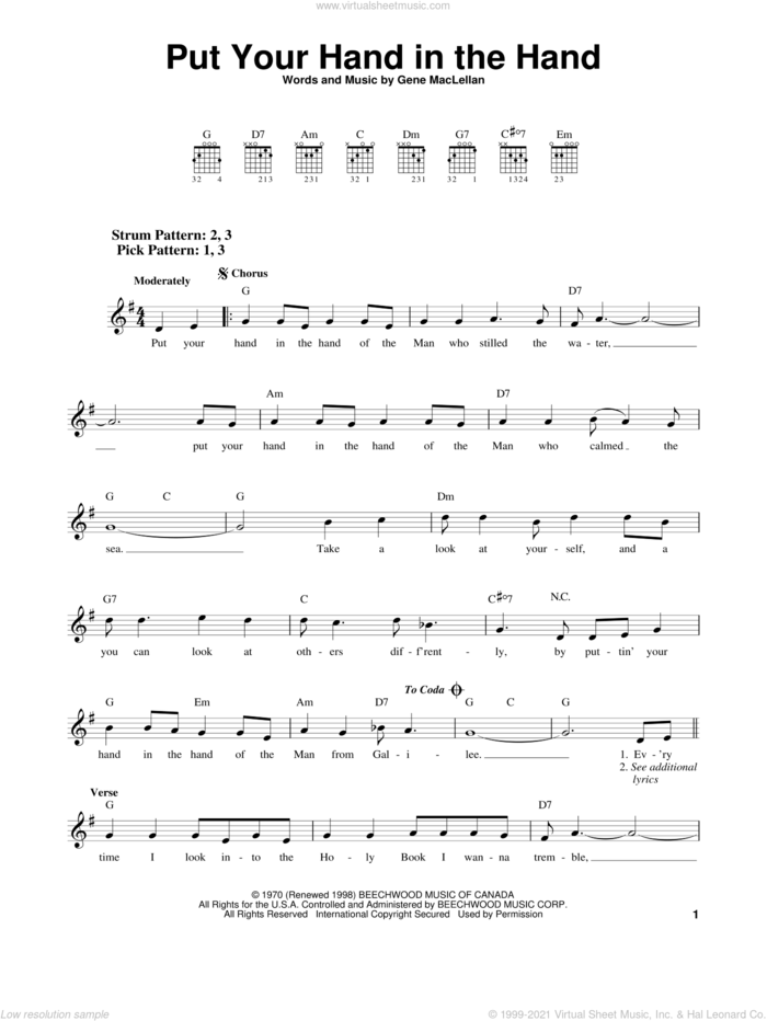 Put Your Hand In The Hand sheet music for guitar solo (chords) by Gene MacLellan, Anne Murray and MacLellan and Ocean, easy guitar (chords)