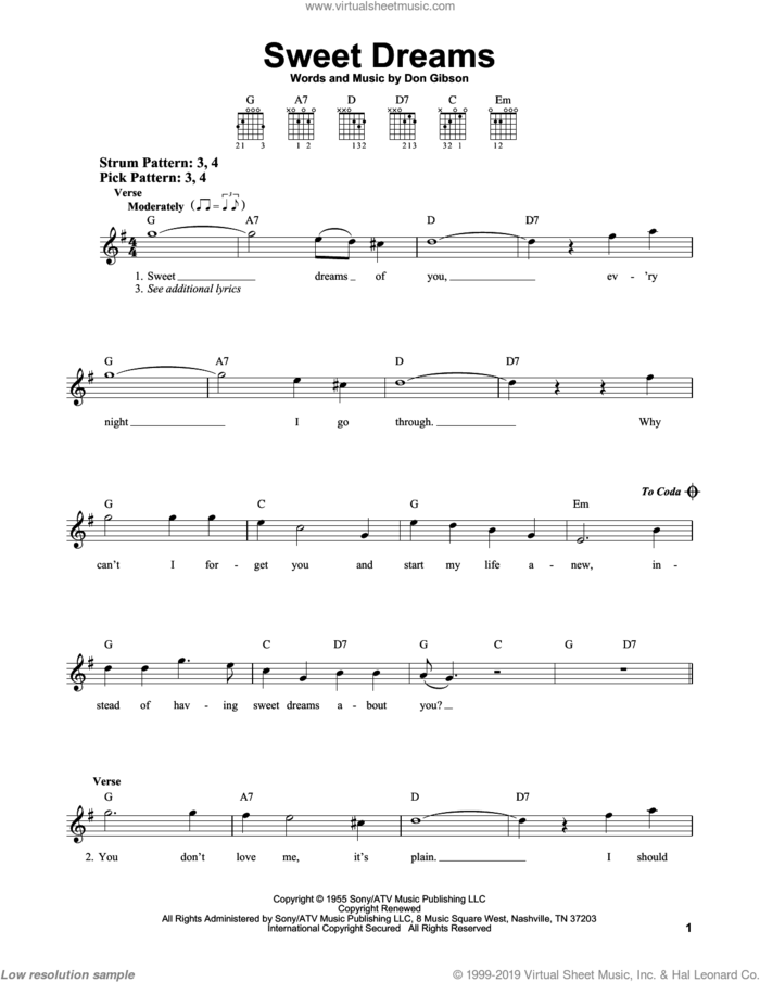 Sweet Dreams sheet music for guitar solo (chords) by Patsy Cline, Emmylou Harris and Don Gibson, easy guitar (chords)