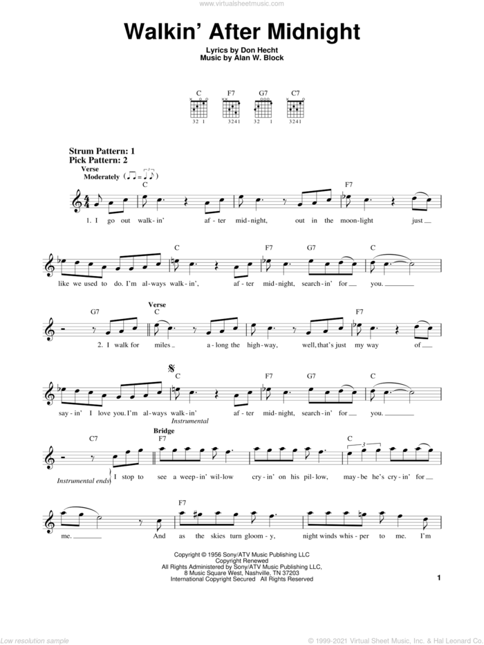 Walkin' After Midnight sheet music for guitar solo (chords) by Patsy Cline, Alan W. Block and Don Hecht, easy guitar (chords)