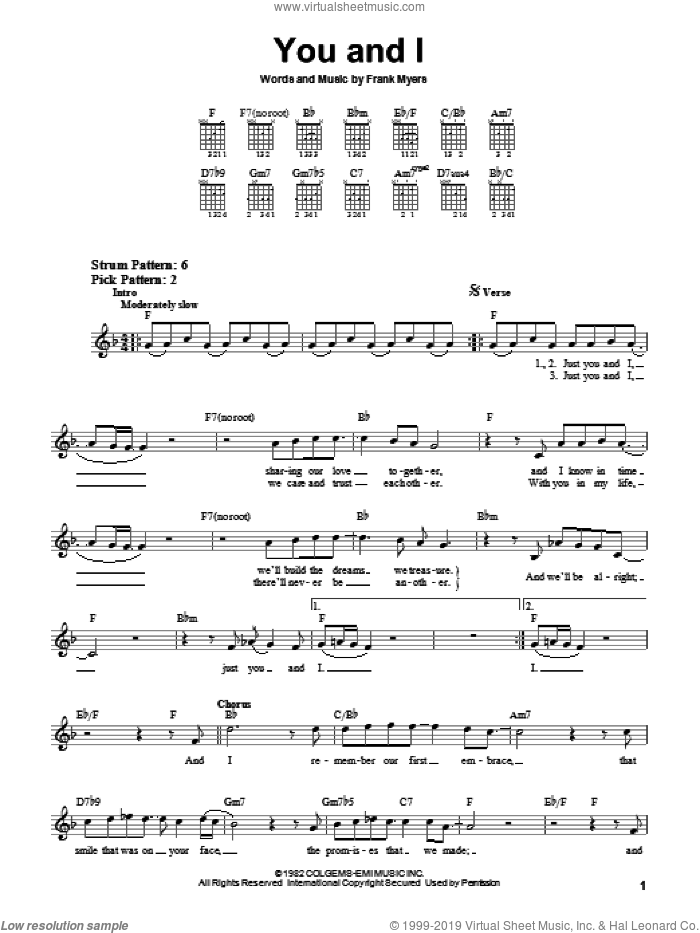 You And I sheet music for guitar solo (chords) by Eddie Rabbitt with Crystal Gayle, Crystal Gayle, Eddie Rabbitt and Frank Myers, wedding score, easy guitar (chords)