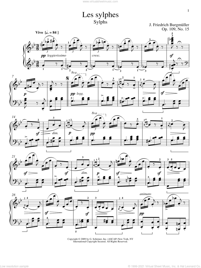 Sylphs sheet music for piano solo by Friedrich Johann Franz Burgmuller and William Westney, classical score, intermediate skill level