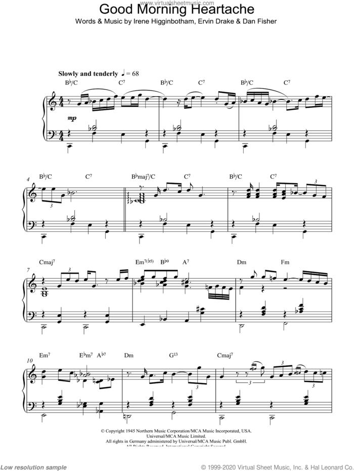 Good Morning Heartache, (intermediate) sheet music for piano solo by Billie Holiday, Dan Fisher, Ervin Drake and Irene Higginbotham, intermediate skill level