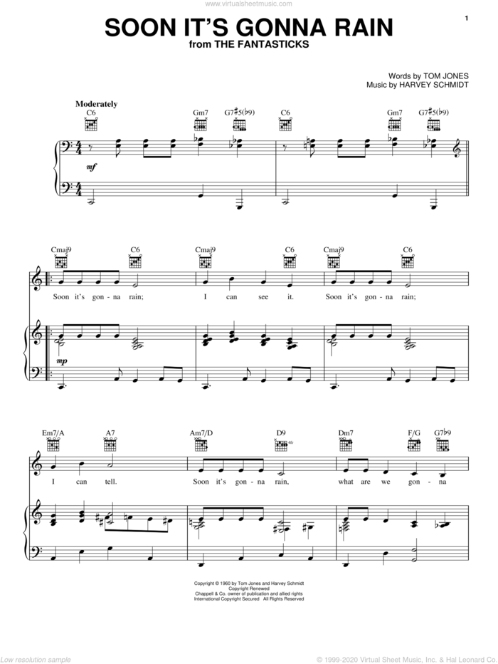 Soon It's Gonna Rain sheet music for voice, piano or guitar by Harvey Schmidt, The Fantasticks (Musical) and Tom Jones, intermediate skill level