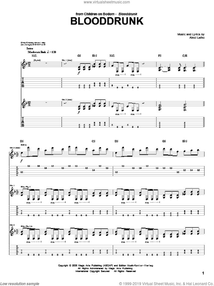 Blooddrunk sheet music for guitar (tablature) by Children Of Bodom and Alexi Laiho, intermediate skill level