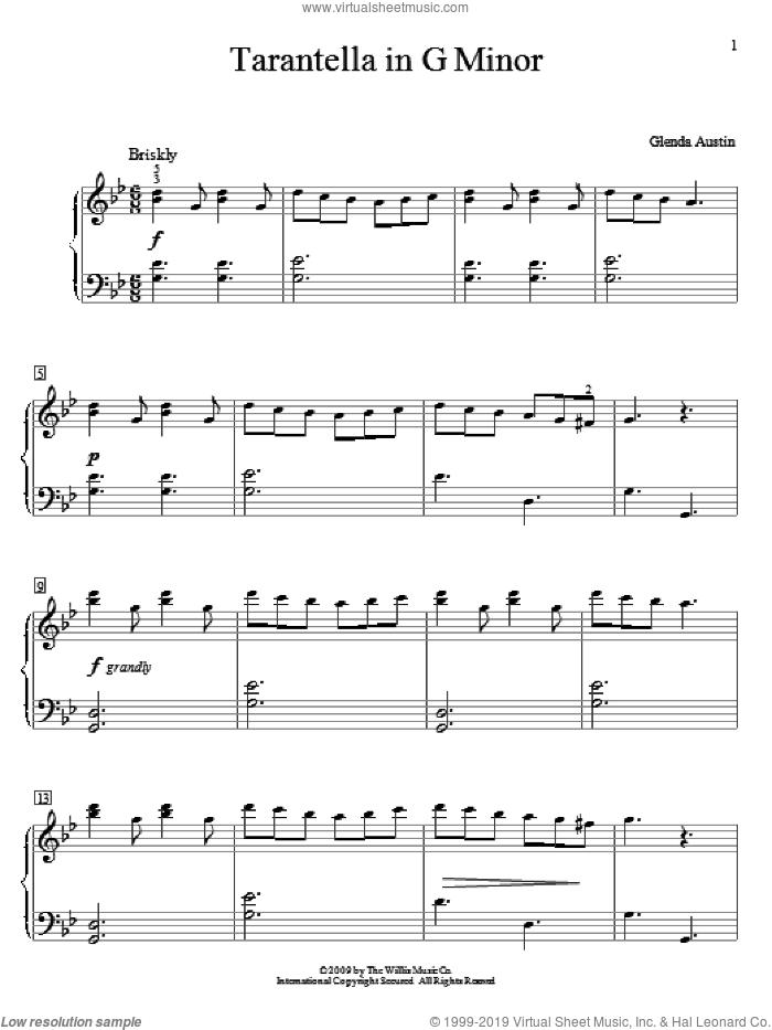 Tarantella In G Minor sheet music for piano solo (elementary) by Glenda Austin, classical score, beginner piano (elementary)