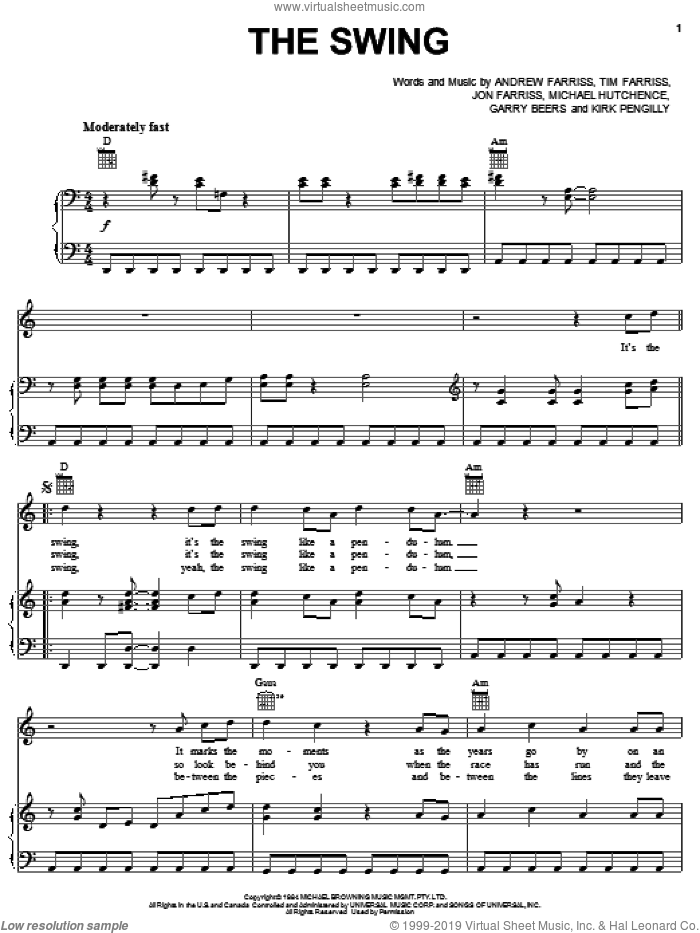 The Swing sheet music for voice, piano or guitar by INXS, Andrew Farriss, Garry Beers, Jon Farriss, Kirk Pengilly, Michael Hutchence and Tim Farriss, intermediate skill level