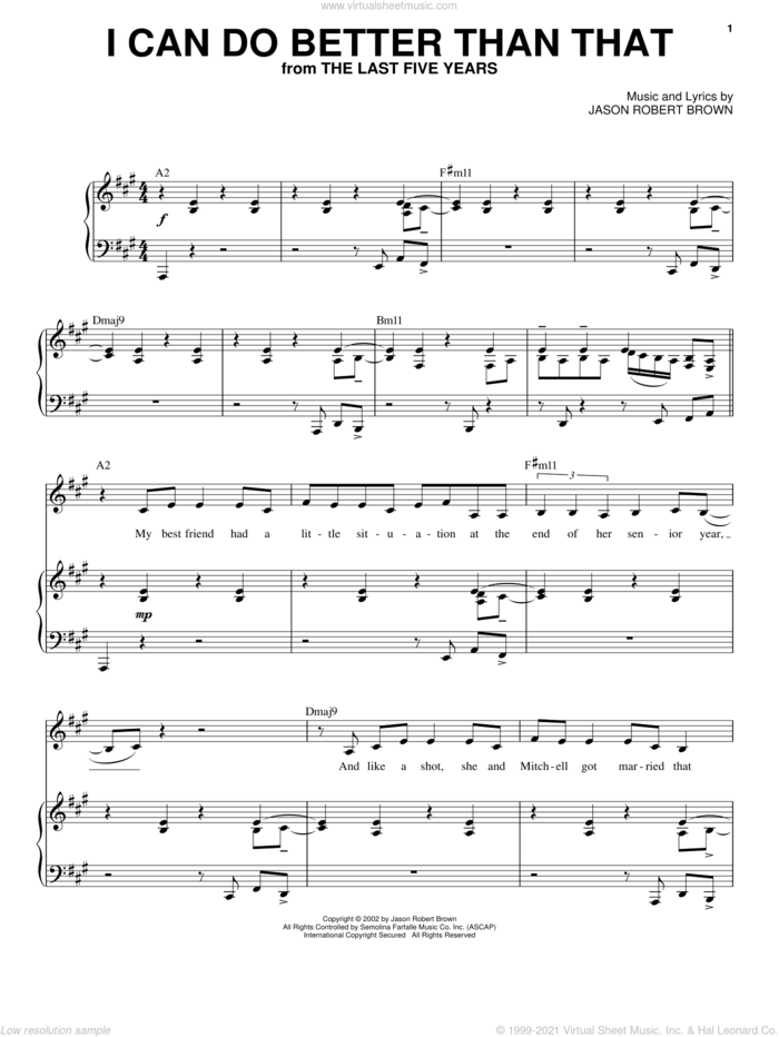 I Can Do Better Than That (from The Last 5 Years) sheet music for voice and piano by Jason Robert Brown and The Last Five Years (Musical), intermediate skill level