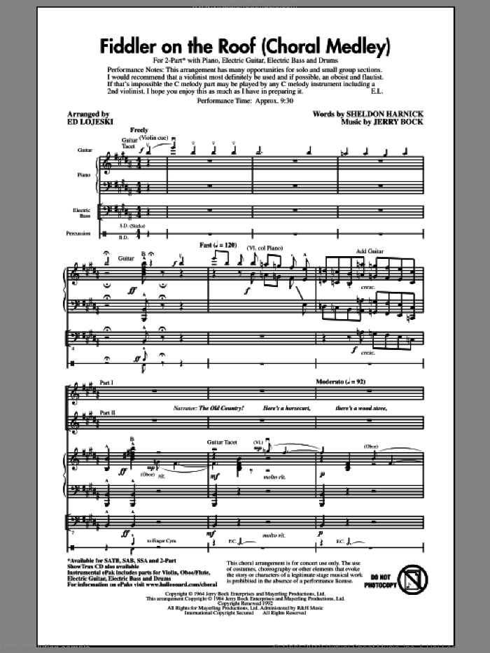 Fiddler On The Roof (Choral Medley) (arr. Ed Lojeski) sheet music for choir (2-Part) by Bock & Harnick, Jerry Bock, Sheldon Harnick and Ed Lojeski, intermediate duet