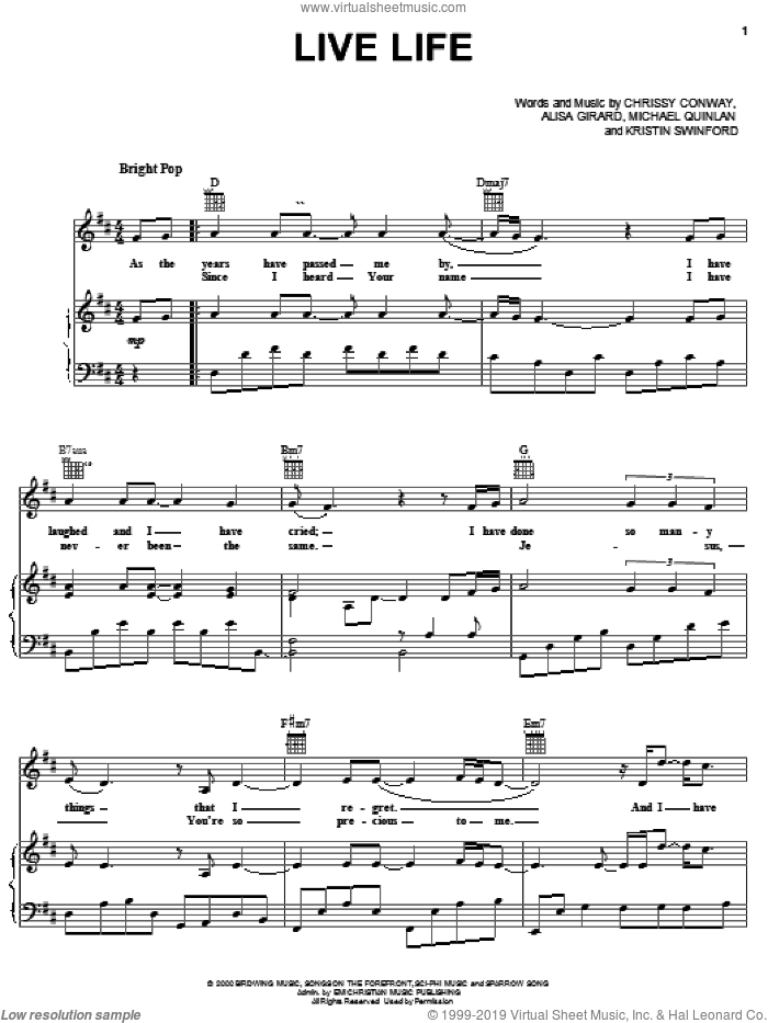 Live Life sheet music for voice, piano or guitar by ZOEgirl, Alisa Girard, Chrissy Conway, Kristin Swinford and Michael Quinlan, intermediate skill level