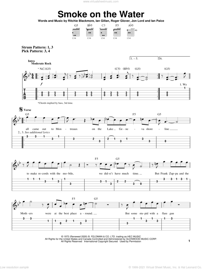 Smoke On The Water sheet music for guitar solo (easy tablature) by Deep Purple, Ian Gillan, Ian Paice, Jon Lord, Ritchie Blackmore and Roger Glover, easy guitar (easy tablature)