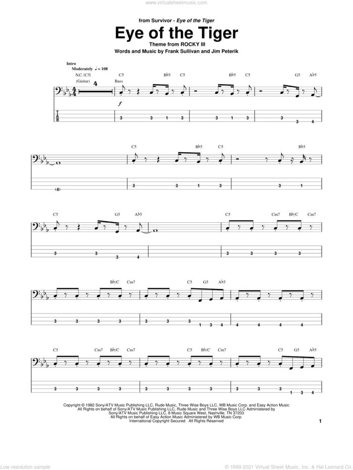Eye Of The Tiger sheet music for bass (tablature) (bass guitar) by Survivor, Frank Sullivan and Jim Peterik, intermediate skill level