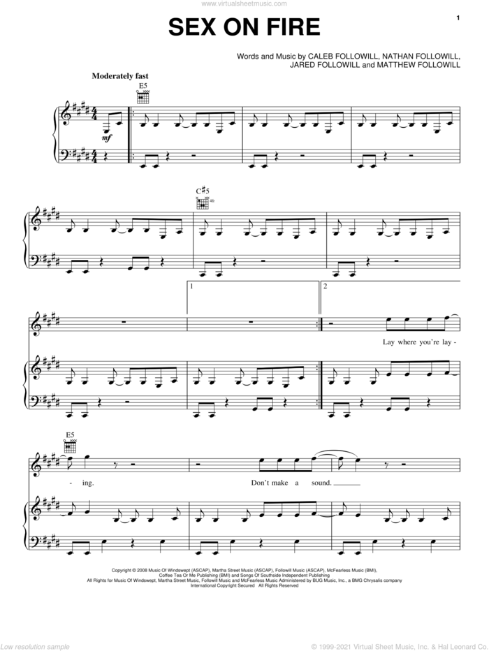 Sex On Fire sheet music for voice, piano or guitar by Kings Of Leon, Caleb Followill, Jared Followill, Matthew Followill and Nathan Followill, intermediate skill level