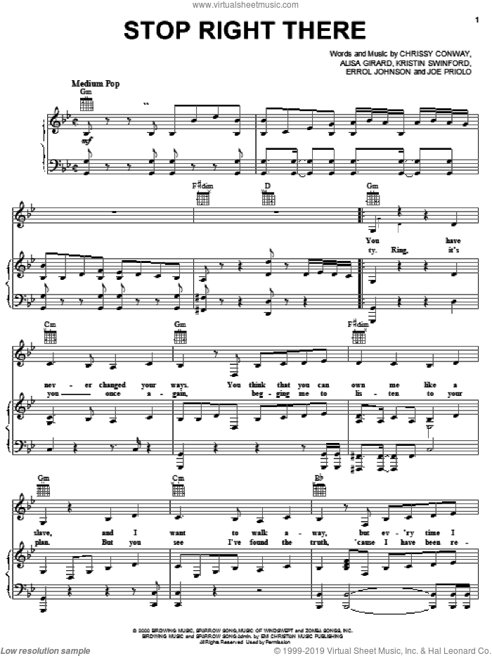 Stop Right There sheet music for voice, piano or guitar by ZOEgirl, Alisa Girard, Chrissy Conway, Errol Johnson, Joe Priolo and Kristen Swinford, intermediate skill level