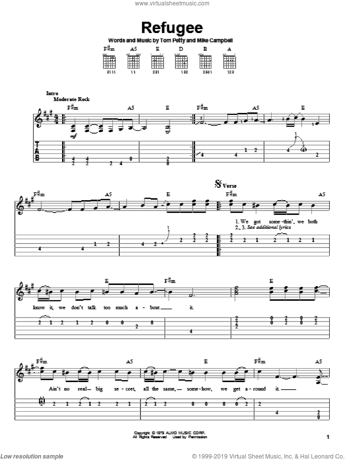Refugee sheet music for guitar solo (easy tablature) by Tom Petty And The Heartbreakers, Mike Campbell and Tom Petty, easy guitar (easy tablature)