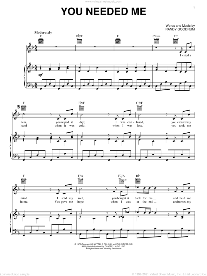 You Needed Me sheet music for voice, piano or guitar by Anne Murray and Randy Goodrum, intermediate skill level