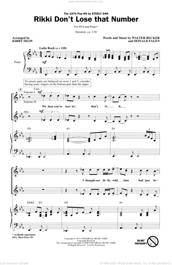 Rikki Don't Lose That Number sheet music for choir (SSA: soprano, alto) by Donald Fagen, Walter Becker, Kirby Shaw and Steely Dan, intermediate skill level
