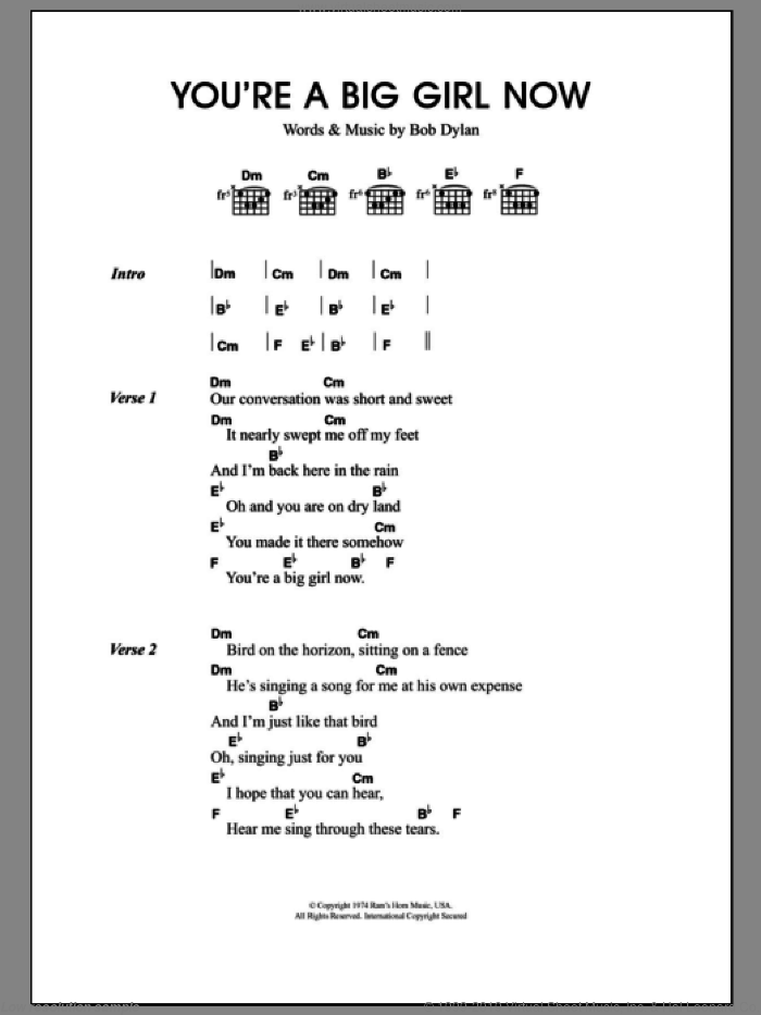 You're A Big Girl Now sheet music for guitar (chords) by Bob Dylan and Merle Travis, intermediate skill level