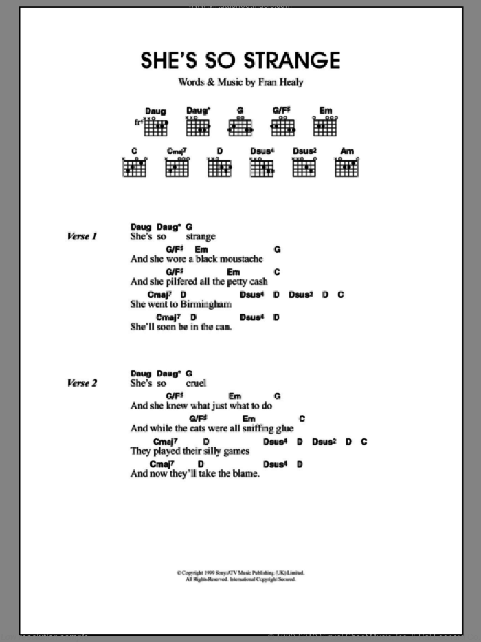 She's So Strange sheet music for guitar (chords) by Merle Travis and Fran Healy, intermediate skill level