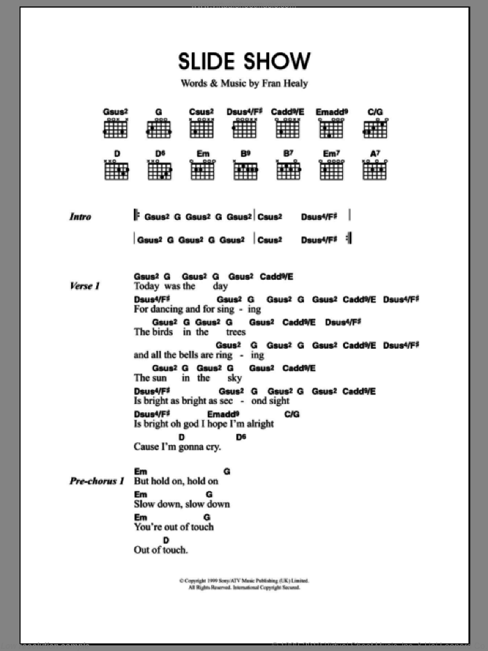 Slide Show sheet music for guitar (chords) by Merle Travis and Fran Healy, intermediate skill level
