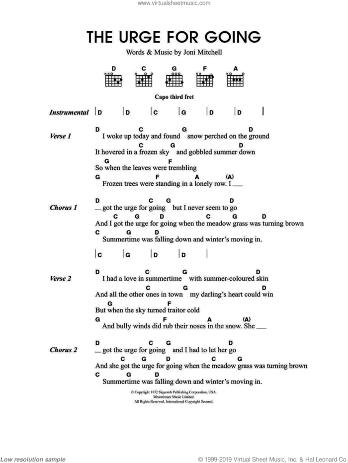 Urge For Going sheet music for guitar (chords) by Merle Travis and Joni Mitchell, intermediate skill level