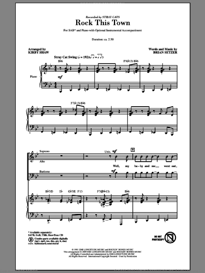 Rock This Town sheet music for choir (SAB: soprano, alto, bass) by Brian Setzer, Kirby Shaw and Stray Cats, intermediate skill level
