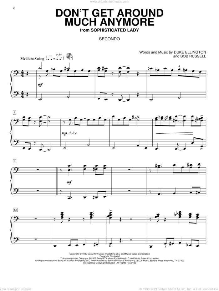 Don't Get Around Much Anymore sheet music for piano four hands by Duke Ellington and Bob Russell, intermediate skill level
