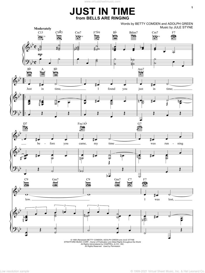 Just In Time sheet music for voice, piano or guitar by Frank Sinatra, Judy Garland, Tony Bennett, Adolph Green, Betty Comden and Jule Styne, intermediate skill level