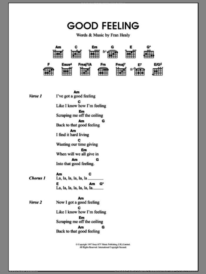 Good Feeling sheet music for guitar (chords) by Merle Travis and Fran Healy, intermediate skill level