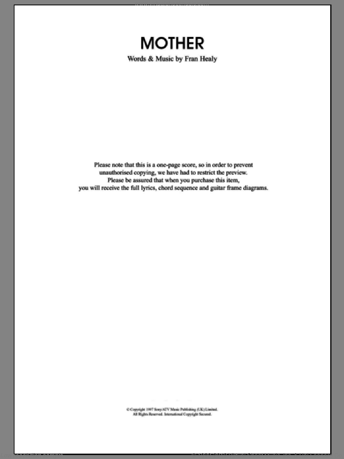 Mother sheet music for guitar (chords) by Merle Travis and Fran Healy, intermediate skill level