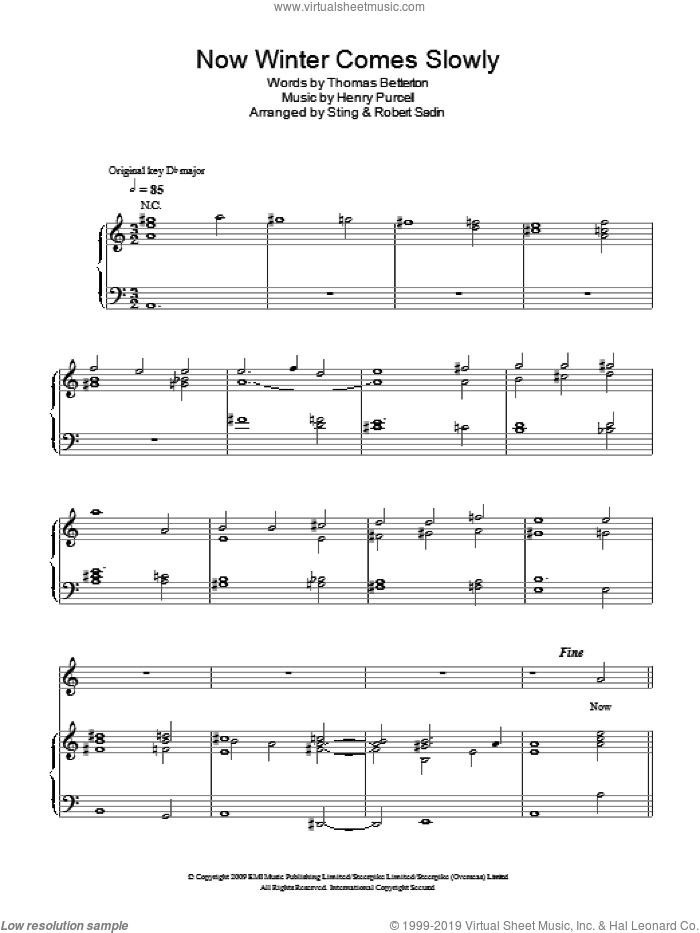 Now Winter Comes Slowly sheet music for voice, piano or guitar by Sting, Robert Sadin, Henry Purcell and Thomas Betterton, intermediate skill level