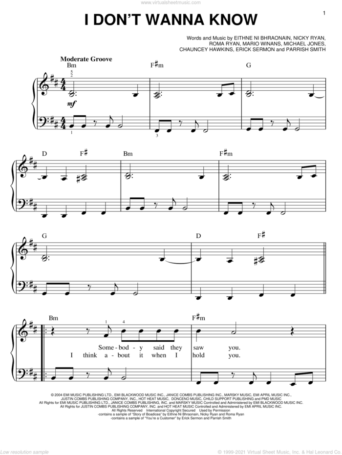 I Don't Wanna Know sheet music for piano solo by Mario Winans, Enya, P. Diddy, Chauncey Hawkins, Eithne Ni Bhraonain, Erick Sermon, Michael Jones, Nicky Ryan, Parrish Smith and Roma Ryan, easy skill level