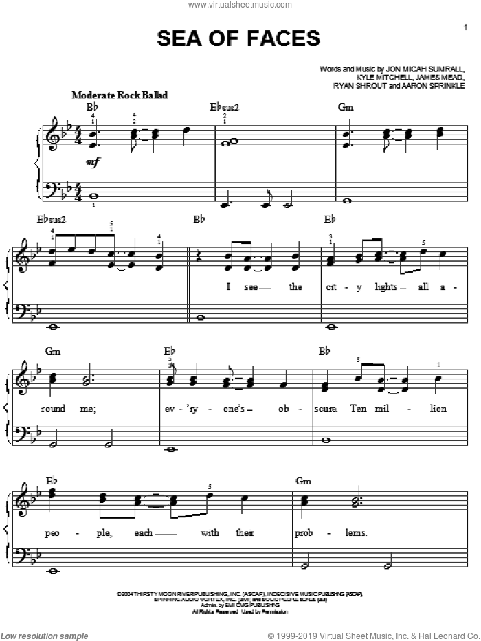 Sea Of Faces sheet music for piano solo by Kutless, Aaron Sprinkle, James Mead, Jon Micah Sumrall, Kyle Mitchell and Ryan Shrout, easy skill level