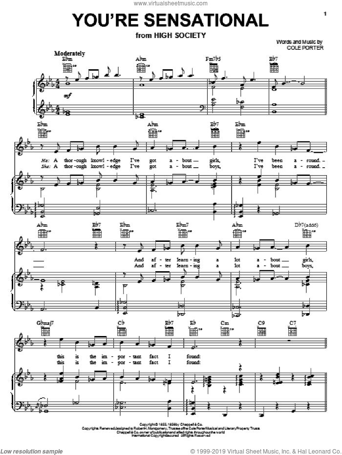 You're Sensational sheet music for voice, piano or guitar by Frank Sinatra and Cole Porter, intermediate skill level