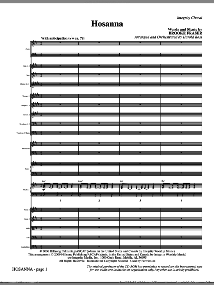 Hosanna (COMPLETE) sheet music for orchestra/band (Orchestra) by Brooke Fraser and Harold Ross, intermediate skill level