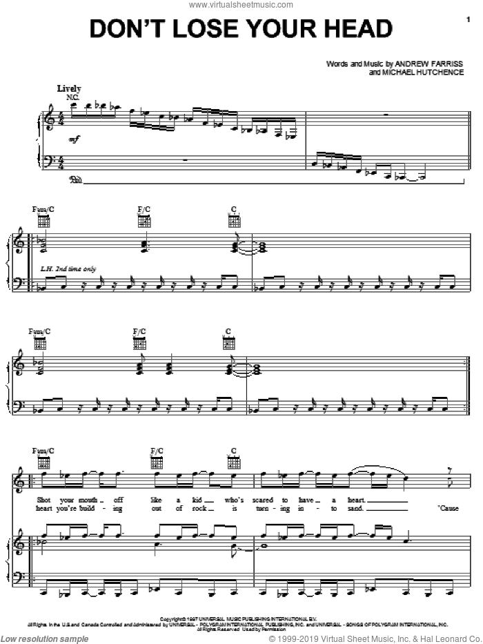 Don't Lose Your Head sheet music for voice, piano or guitar by INXS, Andrew Farriss and Michael Hutchence, intermediate skill level