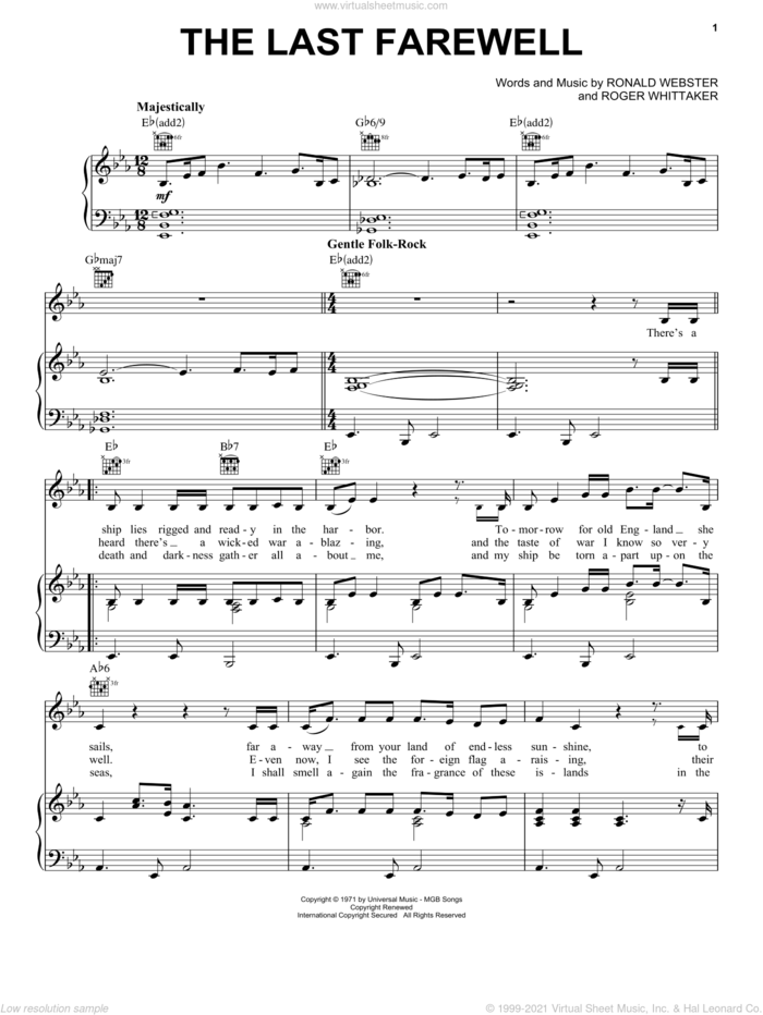 The Last Farewell sheet music for voice, piano or guitar by Roger Whittaker and Ronald Webster, intermediate skill level