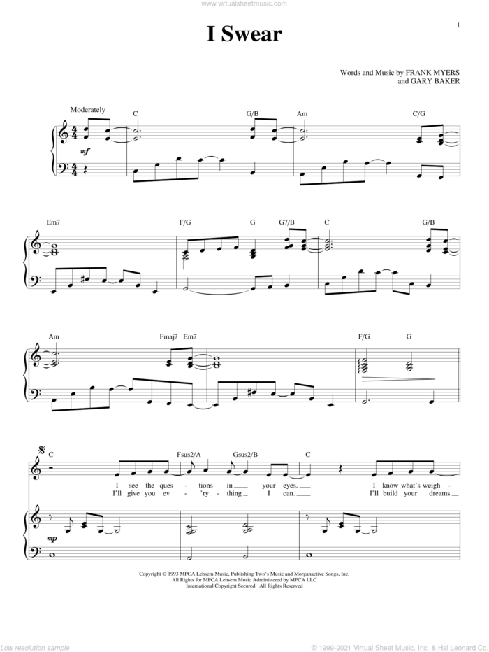 I Swear sheet music for voice and piano by John Michael Montgomery, All-4-One, David Foster, Frank Myers and Gary Baker, wedding score, intermediate skill level