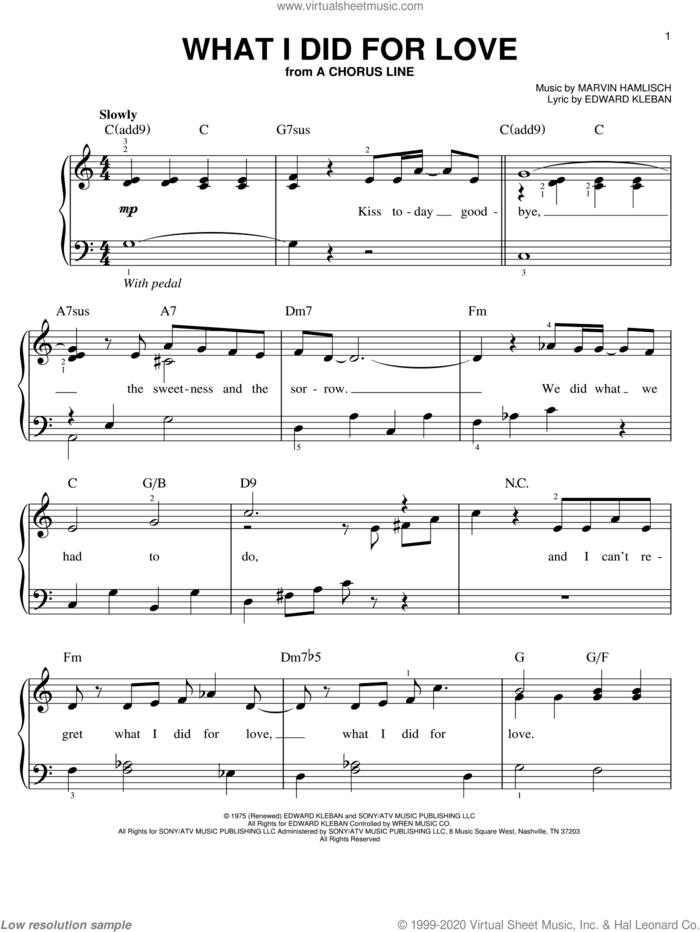What I Did For Love, (easy) sheet music for piano solo by Marvin Hamlisch, A Chorus Line (Musical) and Edward Kleban, easy skill level